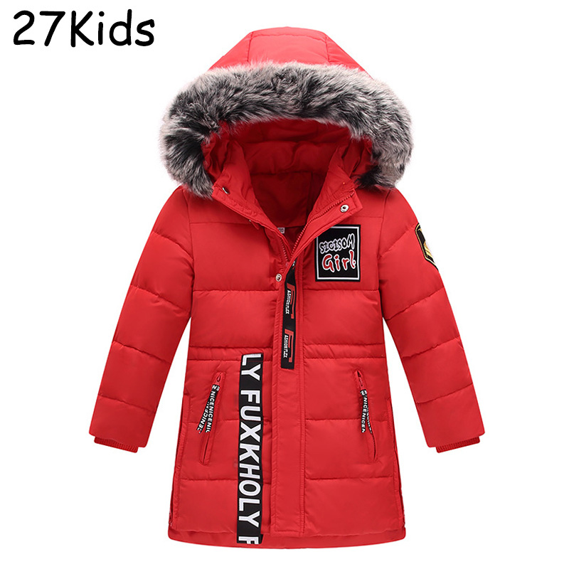 100% Natural Raccoon Fur Collar 2017 Winter Jacket Girls White Duck Down Coats Long Thick Parkas Teenagers Boys Winter Coats buenos ninos thick winter children jackets girls boys coats hooded raccoon fur collar kids outerwear duck down padded snowsuit