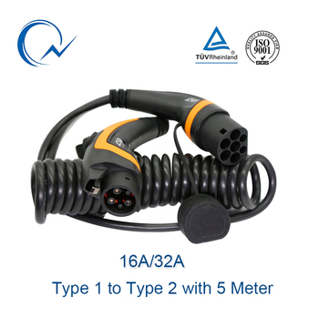 16A 32A EV Cable 3.6KW 7.6KW J1772 Type 1 To Type 2 IEC62196 EV Charging Plug With 5 Meter Spiral Cable / Straight Cable TUV/UL