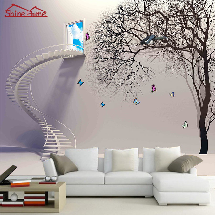 Cool Cartoon Grey Stairs Window Tree Natrual 3d Photo Wallpaper Mural Rolls for Wall Paper 3d Livingroom Painting Kids Bedroom прогулочная коляска cool baby kdd 6699gb t fuchsia light grey