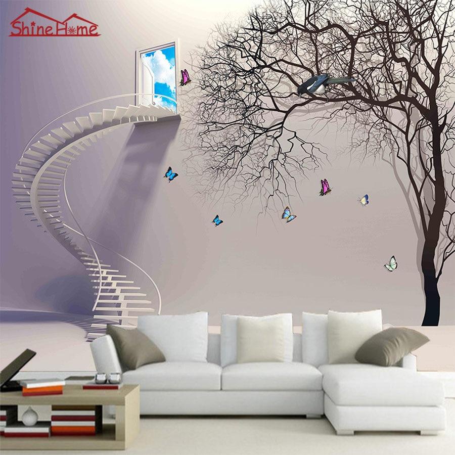 Bande Papier Peint Salon ②de dessin animé cool gris escaliers fenêtre arbre naturel