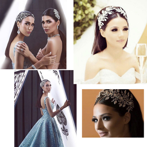 Image 5 - Klasik şeffaf kristaller Rhinestone büyük gelin düğün kafa bantları saç Combs kadınlar Tiara ayarlanabilir saç takı başlığı HG085