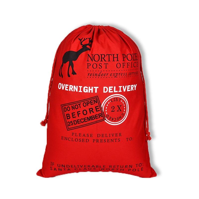10pcs New Year Gift Christmas Gifts Bag Santa Claus Bag Merry Christmas Santa Sack Canvas Gift Bags Drawstring Cotton Bag