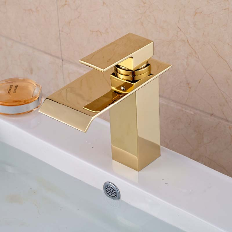 Luxury Golden Brass Bathroom Basin Faucet Deck Mounted Sink Water Mixer tap Single Handle deck mounted golden brass swan basin faucet single handle countertop sink mixer