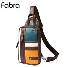 Fabra Men PU Leather Sling Chest Day Back Pack Bag Multi Color Patchwork CrossBody Single Rucksack Shoulder Messenger Bags Brown цены