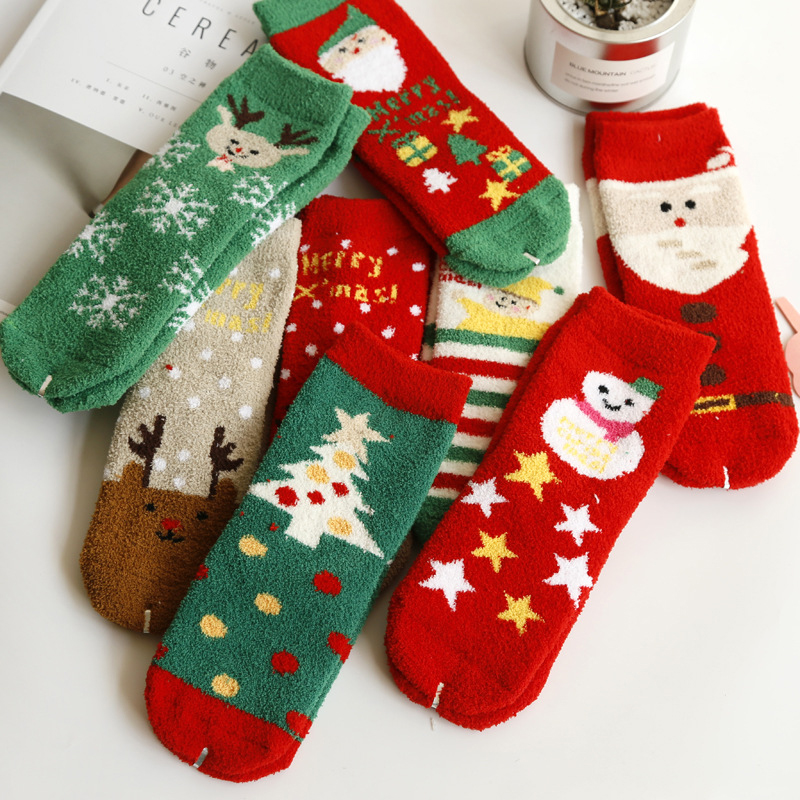 Christmas Fuzzy Socks.1pair Christmas Socks Women Novelty Winter Fuzzy Socks Christmas Funny Meias Fluffy Socks Cute Warm 3d Print Chaussette Femme