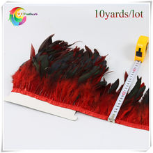 "wholesale 10 Yards long 6-8""inch width natural Rooster Feather Fringe Dyed red with Satin Ribbon Tape for skirt(China)"