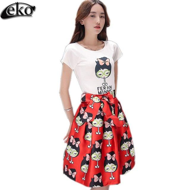 2016 Fashion 2 Piece Set Women Crop Top And Skirt Set Short Sleeve Cartoon Letters Print Tops Bow-Knot Belt Girl Polka Dot Skrt