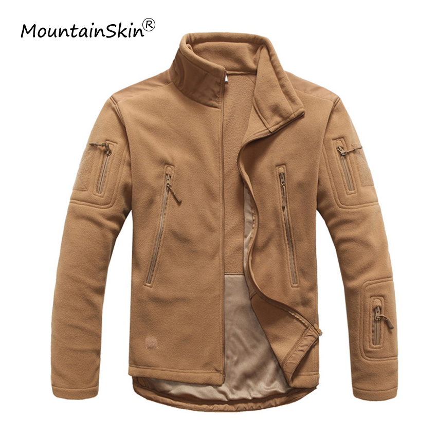 Mountainskin Men's Autumn Military Tactical Jacket Warm Fleece Outerwears Casual High Quality Stitching Jaqueta Male Brand LA654-in Jackets from Men's Clothing