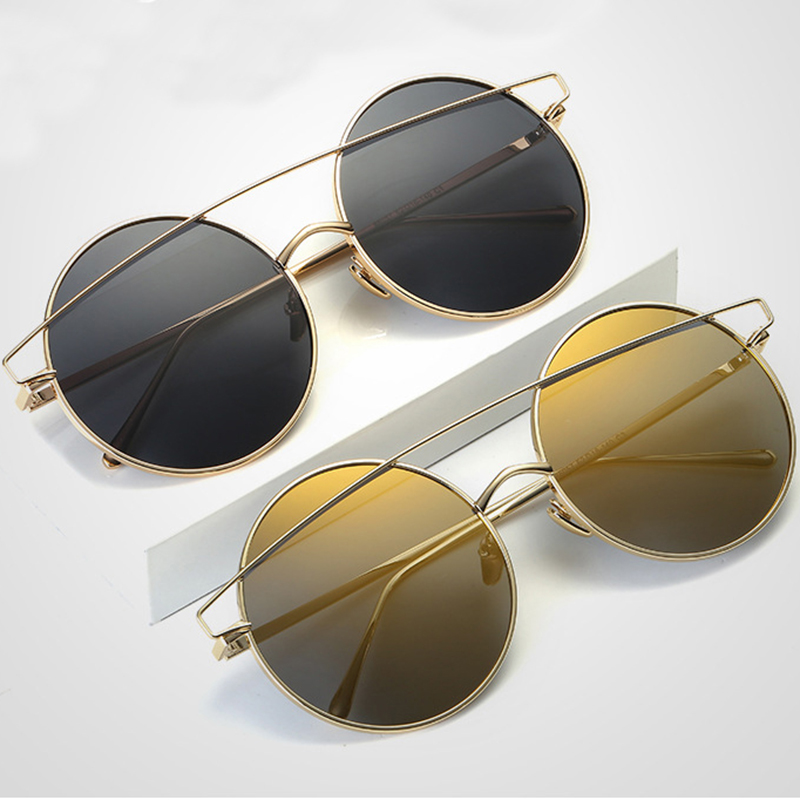 34d1b5f1b1da Aimade Unique Flat Top Oversized Round Sunglasses Women Men Fashion Rose  Gold Coating Big Circle Sun Glasses Male Female Eyewear-in Sunglasses from  Apparel ...