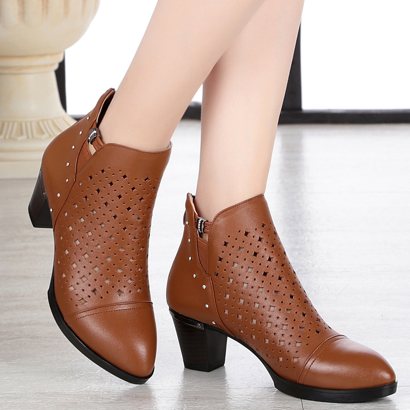 ФОТО 2017 new summer high quality genuine leather  women shoes plus size 35-43 # breathable single  hollow net shoes women