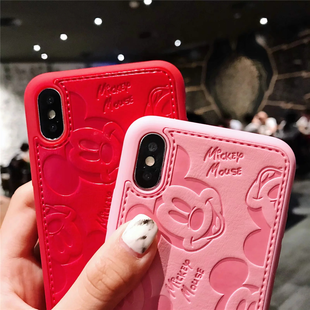 Human - Cartoon Mickey Minnie Mouse Leather Case For iPhone 8 7 6 6S Plus X Xs Max XR 3D embossing Disneys Painting Soft leather Cover