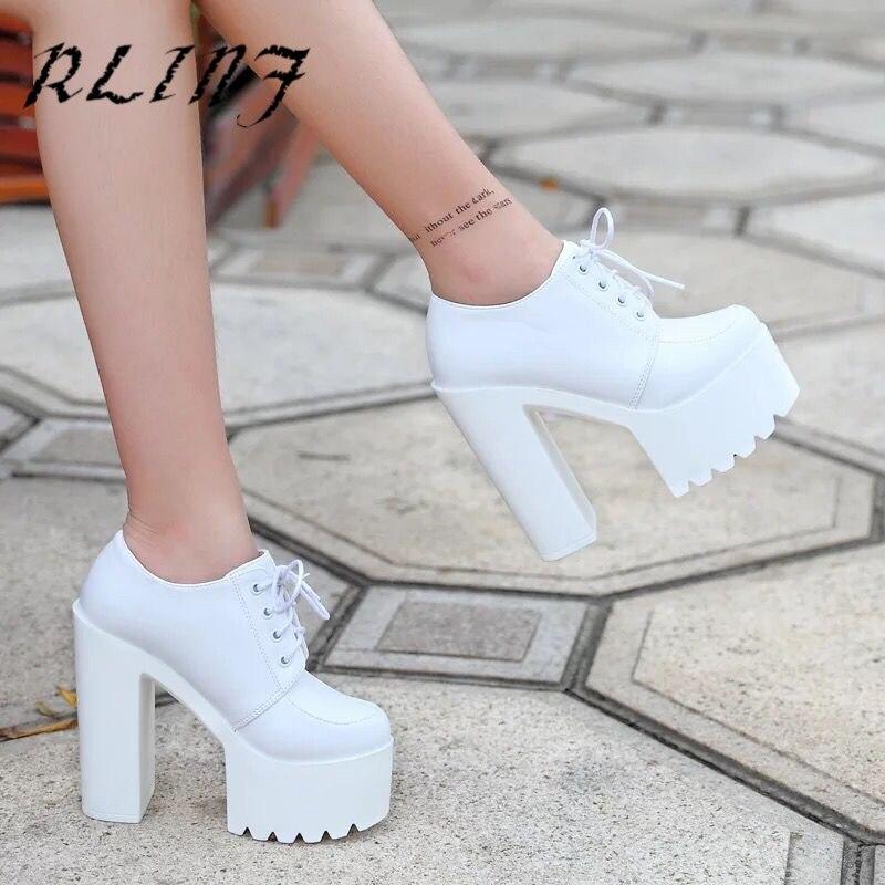 Negro Alta 14 De Mujer Blanco Cm Con Super blanco Corbata Grueso Alto Nuevo Zapatos Odio Rlinf w4n1xHqCA6