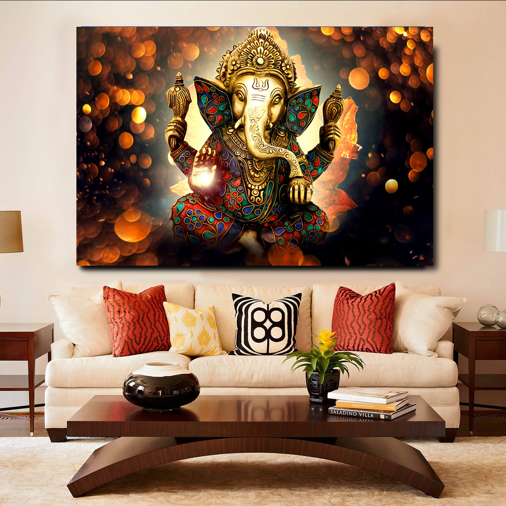 Embelish 1 Pieces Indian Head Elephant God Wall Art