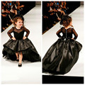 2017 Star style Factory Wholesale 3-14 years Girl Party Dress Black lace Flower Girl Dresses Kids Evening Gowns  T stage show