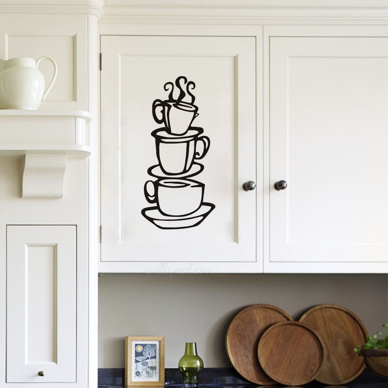 DCTOP House Coffee Cup Silhouette Wall Decals Vinyl