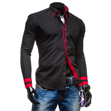 New Mens Long Sleeved Dress Shirts Collar Button Unique Design Slim Fit Shirts