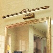 Lámpara de espejo para cosmética Retro, iluminación LED de 500mm y 8W para maquillaje europeo, luces de pared de tocador para baño, decoración de iluminación de armario de bronce
