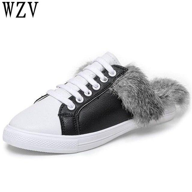 6e425a6c18b10 New 2018 autumn Round Toe women Flats flip flop Rabbit hair warm Lazy shoes  woman fashion Leisure Flat shoes E283
