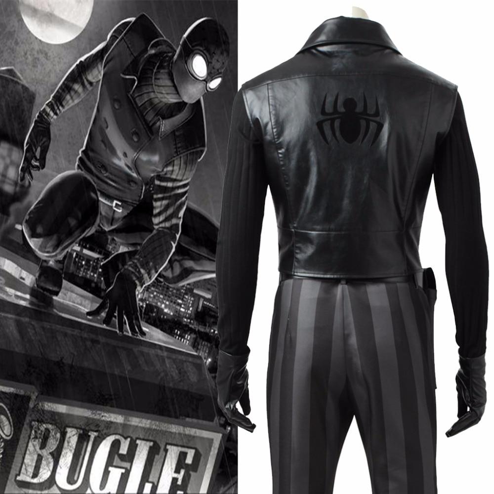Fait sur commande de Bande Dessinée Spider man Noir Cosplay Costume Gilet Adulte Noir En Cuir Gilet Costume L0516