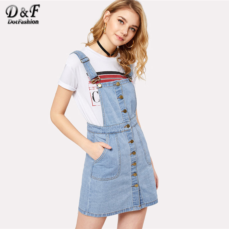 Dotfashion Button Front Overall Denim Dress 2018 Summer Spring Straps Pocket Dress Women Blue Sleeveless Shift Preppy Dress ...