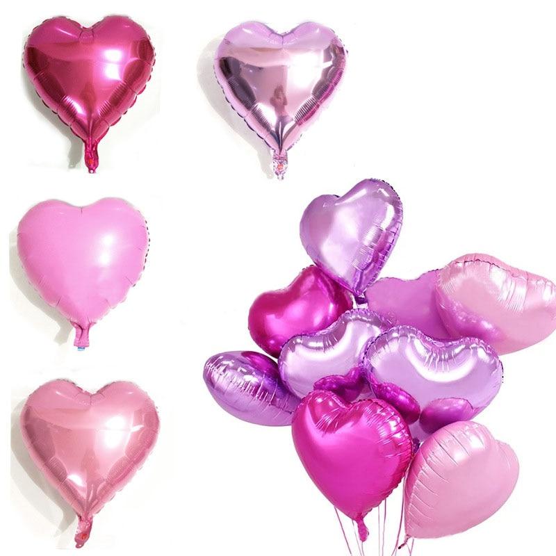 Aluminum foil balloons pink heart foil helium balloons birthday aluminum foil balloons pink heart foil helium balloons birthday party wedding decoration supplies kids gift classic toy balloons junglespirit Images