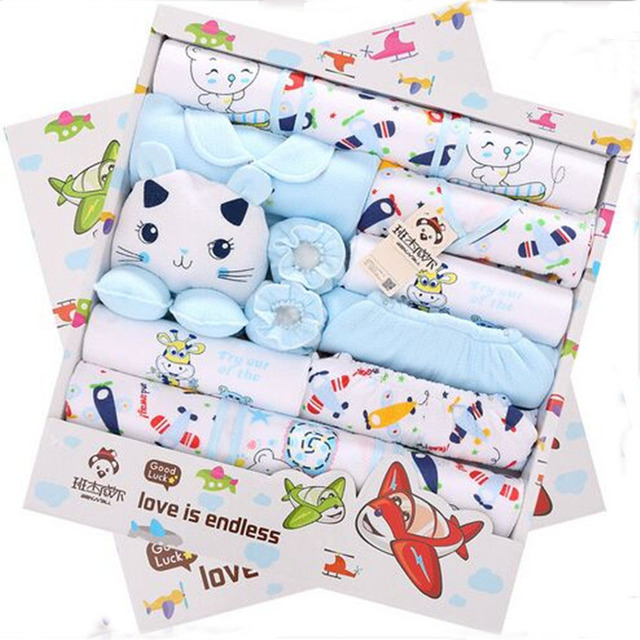 19Pcs/Lot 2016 Newborn Baby Girl Clothes Autumn Gift Box Set  Thick Cotton O-neck Character Baby Boy Clothes