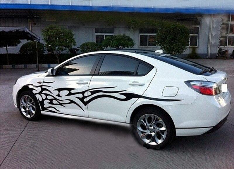 Un ensemble élément de flamme Totem voiture carrosserie côtés PVC autocollants sport course décalcomanies décoration