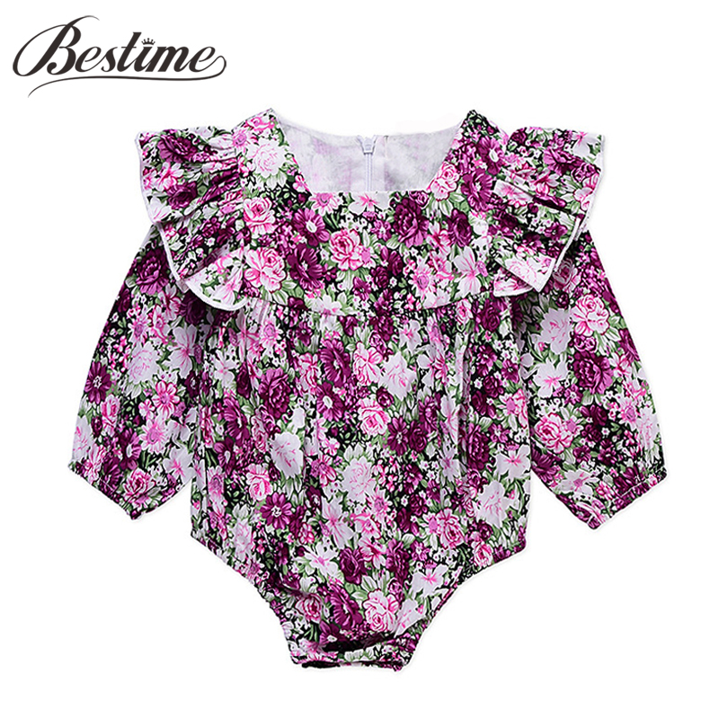 New Arrivals Infant Romper Floral Print Ruffles Baby Romper Autumn Cotton Long Sleeve Ba ...