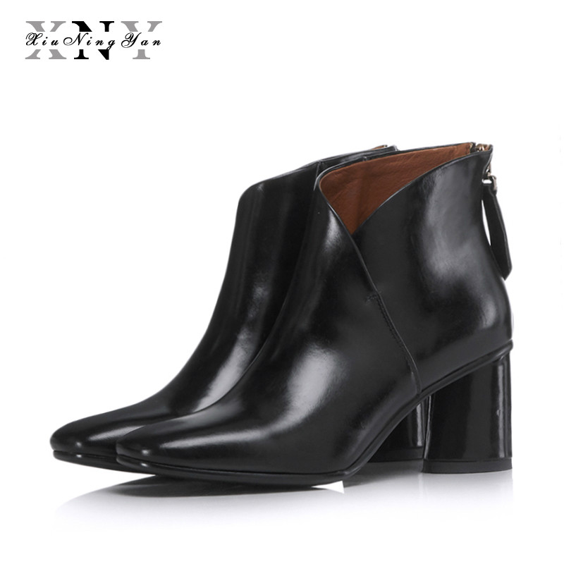 XIUNINGYAN Women Winter Boots Genuine Leather Chelsea Boots Women Square Toe Ankle Boots for Women Winter Shoes Large Size 42 цена