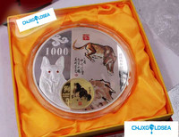 2018 Year 1kg Weight China Zodiac dog plated Silver coins with COA certificate Animal Coin gift present copy