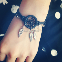 Black Dream Catcher Bracelets with Alloy Feather Free Shipping