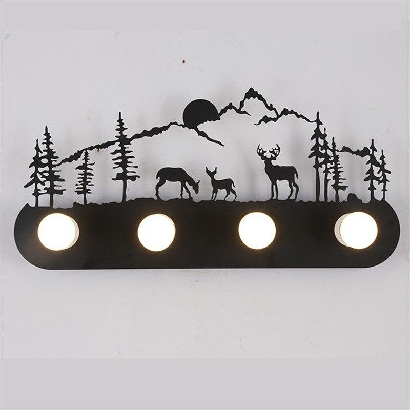 Американский стиль Лофт Промышленные металлические СВЕТОДИОДНЫЙ настенная лампа для ресторанов и спален пони олень Санта Клаус ветряная м...