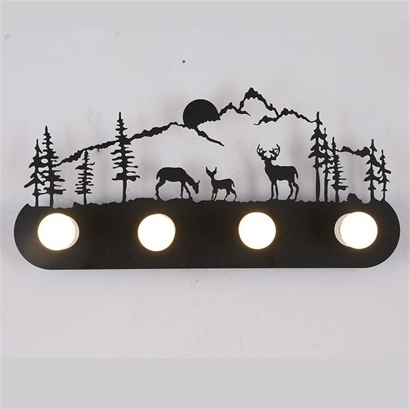 American style loft Industrial metal LED wall lamp restaurant bedroom pony deer Santa Claus windmill wall lamp Lighting Fixture window forest christmas santa deer 3d wall art sticker