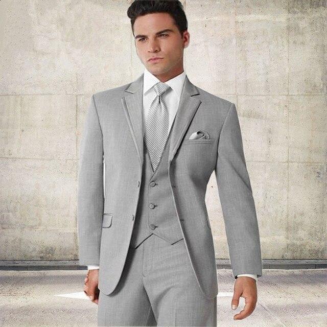 2018 Custom Made Groom Tuxedo silver Suit Best man Groomsman Men Wedding  Prom Suits Bridegroom Jacket+Pant+vest 0605de2220ce