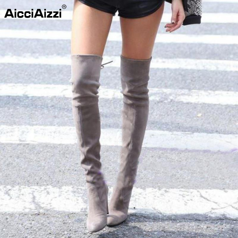 Womens Stretch Slim Suede Over the Knee Boots Thigh High Boots Sexy Fashion High Heel Boot Shoes Woman Black Grey Size 34-43