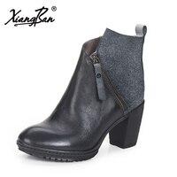 Xiangban 2019 женские ботильоны на высоком каблуке весна осень зима натуральная кожа женские ботинки 50133