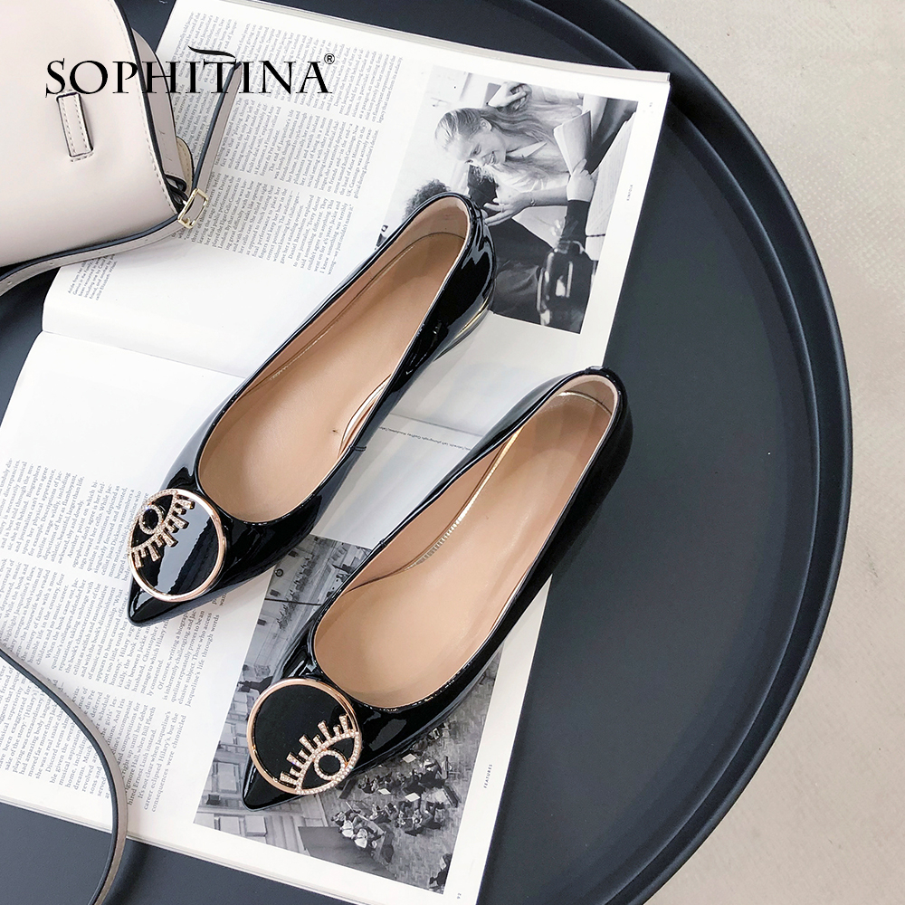 SOPHITINA New Large Size Pumps Genuine Leather Fashion Metal Decoration Casual Shoes Comfortable Square Heel Spring