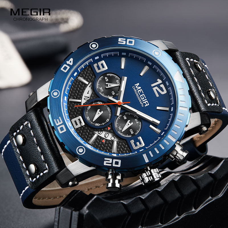 Ure mænd MEGIR mænd kronograf kvarts ure ægte læder armé - Mænds ure - Foto 3