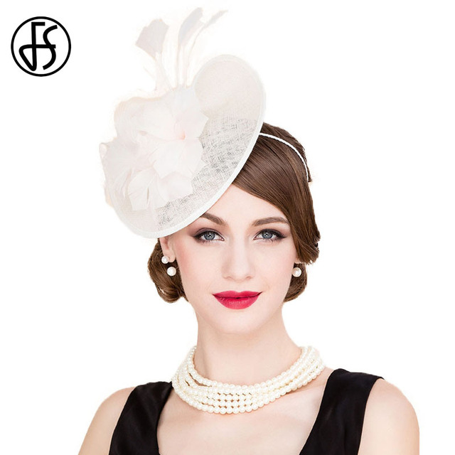 FS British Style Beige White 100% Linen Wedding Sinamay Hat For Women  Fashion Feather Banquet bae1a0d112e1