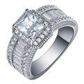 2016 Quadrado Anéis de promessa nova jóia de prata banhado grande tamanho 7 8 9 Branco Cubic Zircon mulheres Anel de Noivado