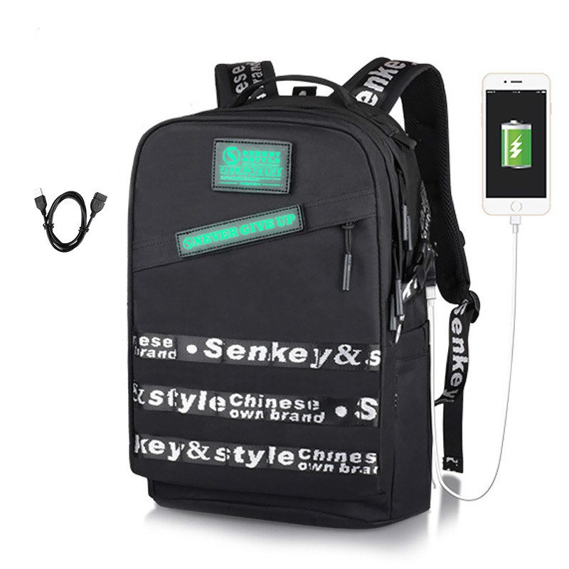 New Hot Male USB Charging Backpack Fashion Trend Letter Decoration Computer Bag Tide Chic Student Travel BagNew Hot Male USB Charging Backpack Fashion Trend Letter Decoration Computer Bag Tide Chic Student Travel Bag