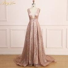 BeryLove Gold Sequin Evening Dress 2019 for Women Long Prom Dress Shiny Sexy vestidos de fiesta V Neck Open Back robe de soiree