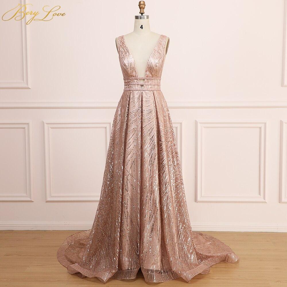 BeryLove Gold Sequin Evening Dress 2020 Women Long Prom Dress New Shiny Sexy Vestidos De Fiesta V Neck Open Back Robe De Soiree