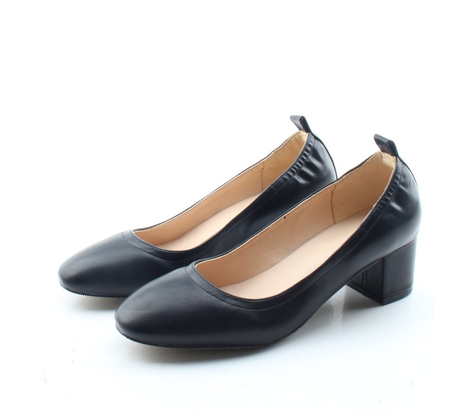 Shoes Women Genuine Leather Fashion Office and Career Rounded Toe 2-inch Block Heel Fashion Office Lady Pumps Size 34-41, K-307 46