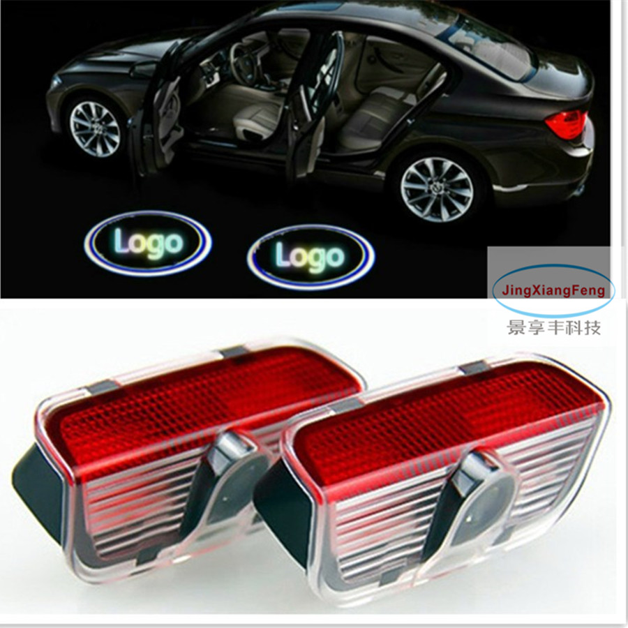 JingXiangFeng No Drilling for skoda superb car styling Led Door step Logo Light Decoration Ghost Shadow Welcoming Dedicated