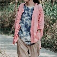 Original design one hundred percent cotton linen loose long-sleeved shirt of big yards