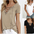 Summer Fashion Women T-shirts Short Sleeve Sexy Deep V Neck Bandage Shirts Women Lace Up Tops Tees T Shirt plus size