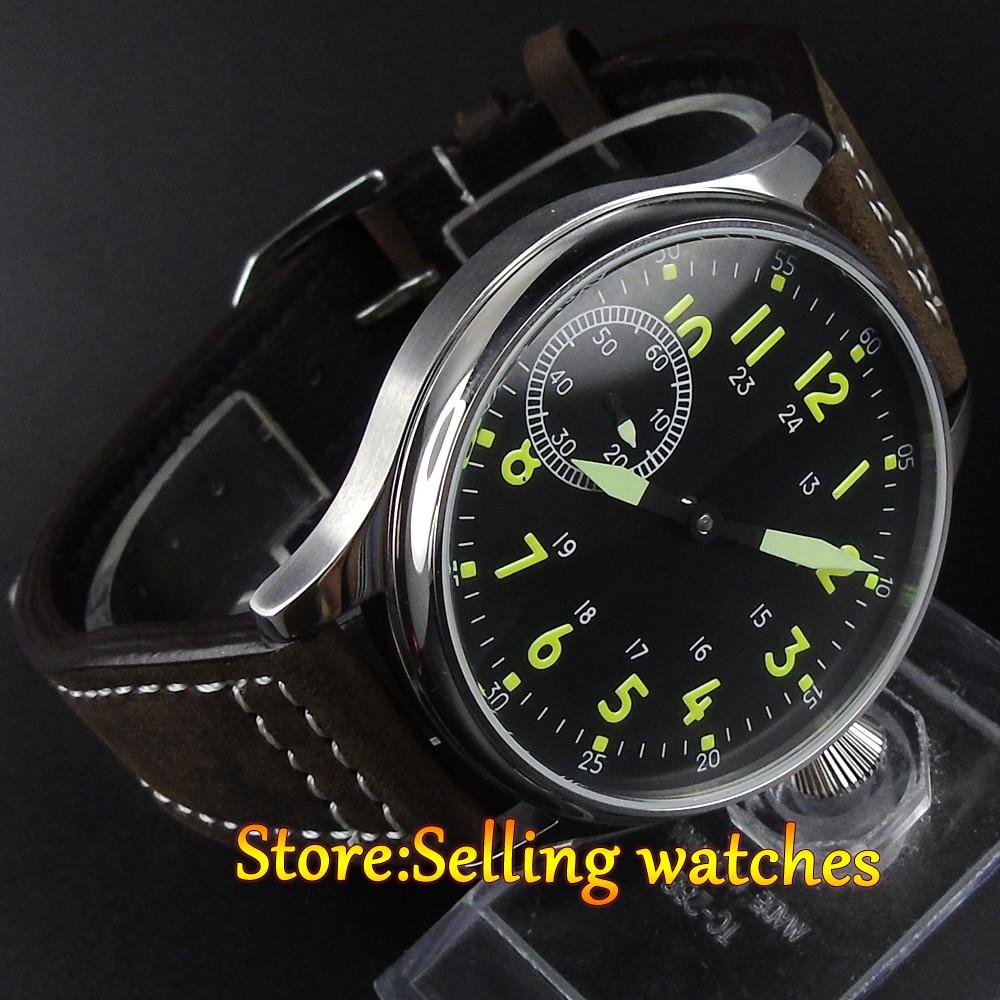 44mm Corgeut Black Dial Luminous hand Hand winding 6497 Movement font b Watch b font