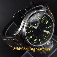 44mm Corgeut Black Dial Luminous Hand Seagull Hand Winding 6497 Movement Watch