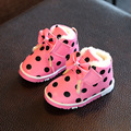 Children Boots Winter Warm Baby Girls Shoes Cute Bowknot Polka Dot Print Infants Toddlers First Walker Shoes Kids Ankle Boot